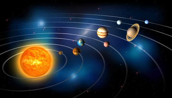 Solar System modeled in Cinema 4D. Composition includes the sun and each of the eight planets and a representation of their orbit. Stars, nebulas and a distant galaxy seen in the background.